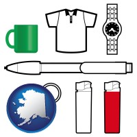 alaska map icon and typical advertising promotional items