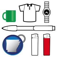arkansas map icon and typical advertising promotional items