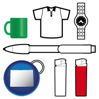 colorado map icon and typical advertising promotional items