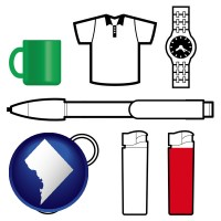 washington-dc map icon and typical advertising promotional items