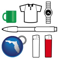 florida map icon and typical advertising promotional items