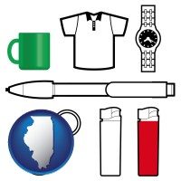 illinois map icon and typical advertising promotional items