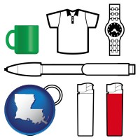 louisiana map icon and typical advertising promotional items