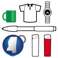 mississippi map icon and typical advertising promotional items