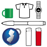 new-jersey map icon and typical advertising promotional items