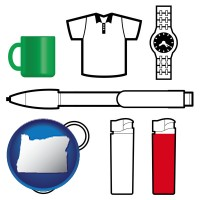 oregon map icon and typical advertising promotional items