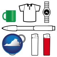 virginia map icon and typical advertising promotional items