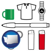 washington map icon and typical advertising promotional items
