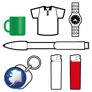 typical advertising promotional items - with Alaska icon