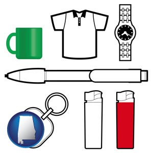 typical advertising promotional items - with Alabama icon