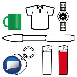 typical advertising promotional items - with Connecticut icon