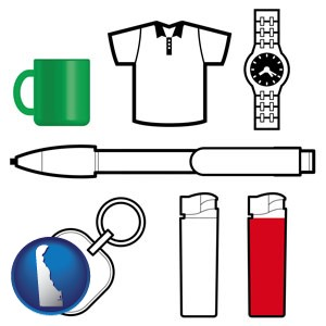 typical advertising promotional items - with Delaware icon