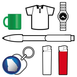 typical advertising promotional items - with Georgia icon