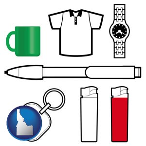typical advertising promotional items - with Idaho icon