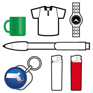 typical advertising promotional items - with Massachusetts icon