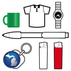 typical advertising promotional items - with Michigan icon