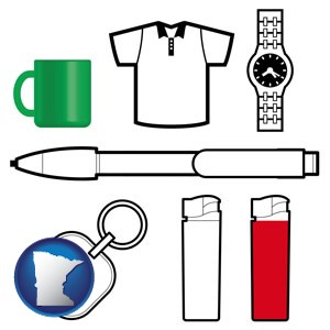 typical advertising promotional items - with Minnesota icon