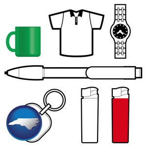 typical advertising promotional items - with North Carolina icon
