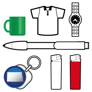 typical advertising promotional items - with North Dakota icon