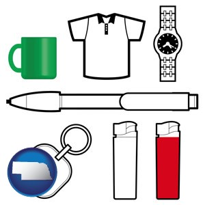 typical advertising promotional items - with Nebraska icon