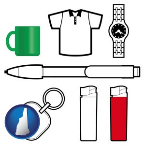 typical advertising promotional items - with New Hampshire icon