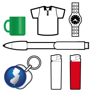 typical advertising promotional items - with New Jersey icon