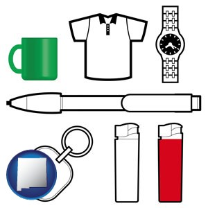 typical advertising promotional items - with New Mexico icon