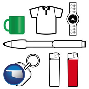 typical advertising promotional items - with Oklahoma icon
