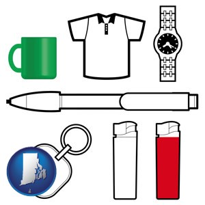 typical advertising promotional items - with Rhode Island icon