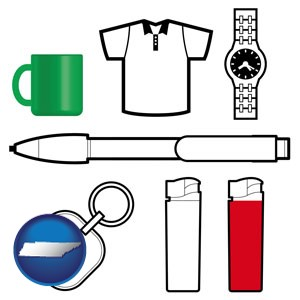 typical advertising promotional items - with Tennessee icon