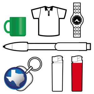 typical advertising promotional items - with Texas icon