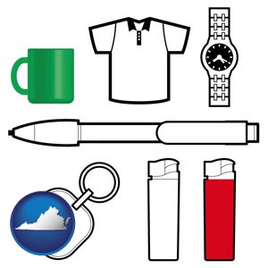 typical advertising promotional items - with Virginia icon
