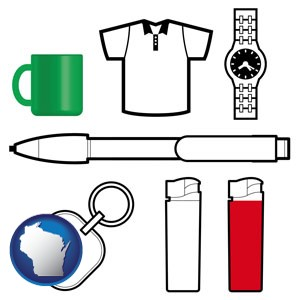 typical advertising promotional items - with Wisconsin icon