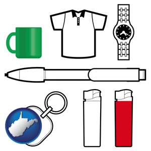 typical advertising promotional items - with West Virginia icon
