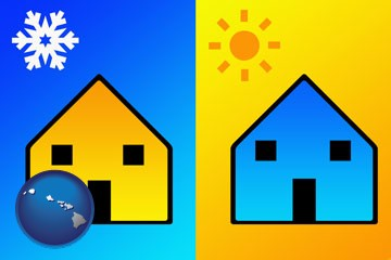 the concept of air conditioning - with Hawaii icon