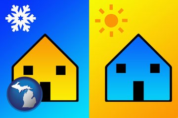 the concept of air conditioning - with Michigan icon