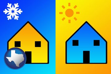 the concept of air conditioning - with Texas icon