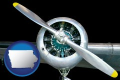 iowa map icon and an aircraft propeller