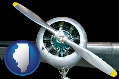 illinois map icon and an aircraft propeller