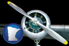 minnesota map icon and an aircraft propeller