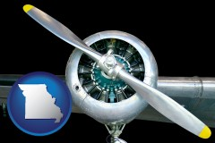 missouri map icon and an aircraft propeller