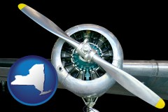 new-york map icon and an aircraft propeller