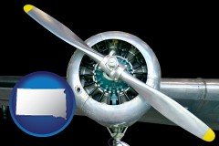 south-dakota map icon and an aircraft propeller