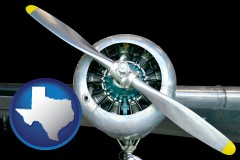 texas map icon and an aircraft propeller