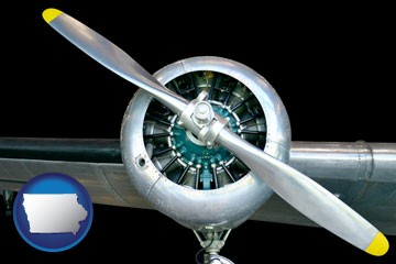 an aircraft propeller - with Iowa icon