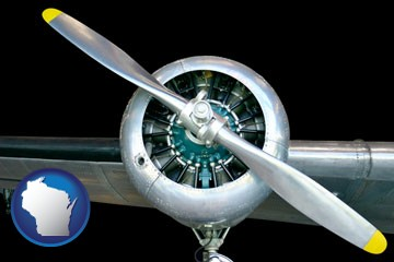 an aircraft propeller - with Wisconsin icon