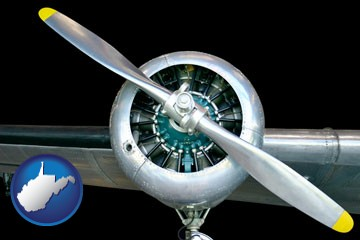 an aircraft propeller - with West Virginia icon