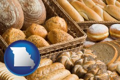 missouri map icon and a baked goods assortment