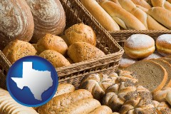 texas map icon and a baked goods assortment