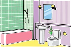 bathroom fixtures in a colorful bathroom